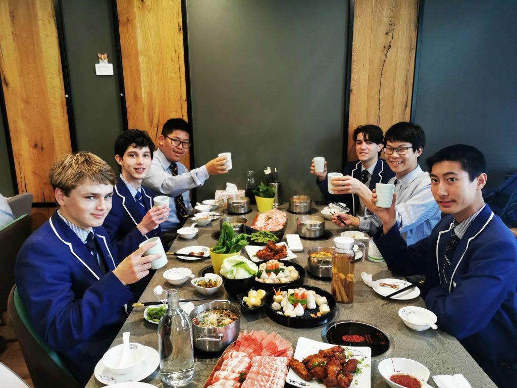 Enjoying lunch at hotpot restaurant Guoyin