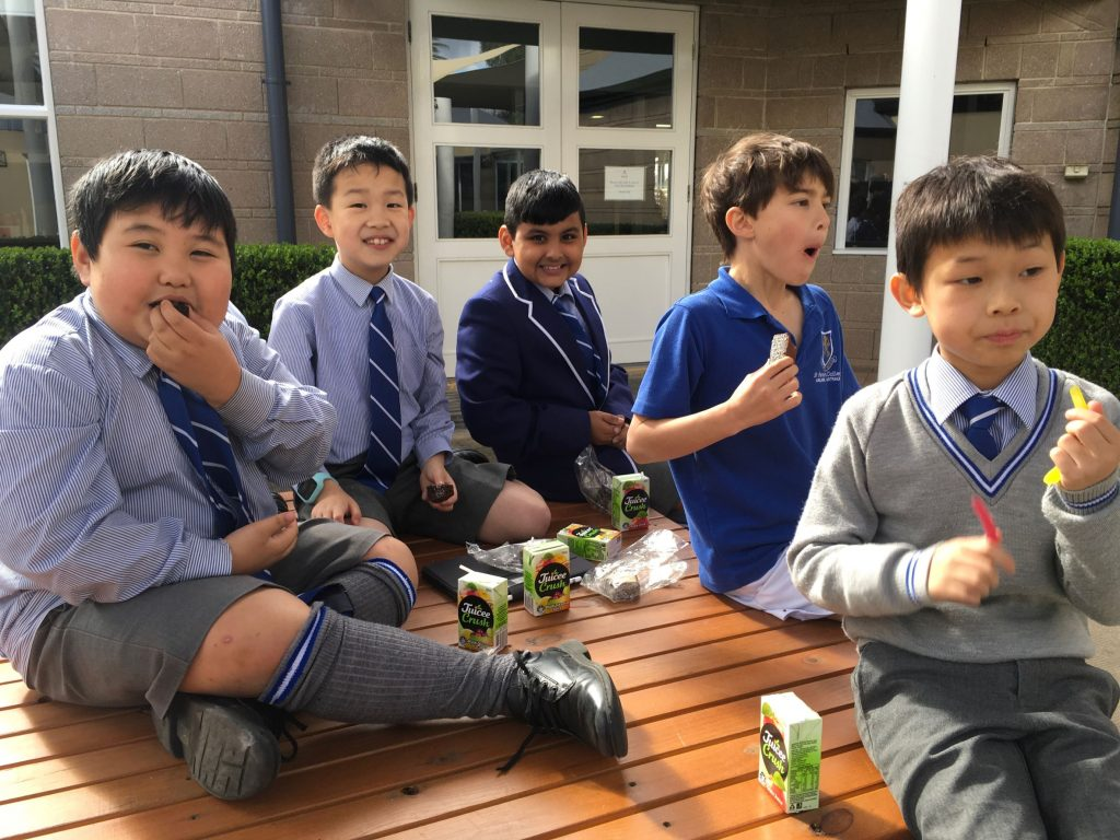 Year 3 French students enjoying afternoon tea